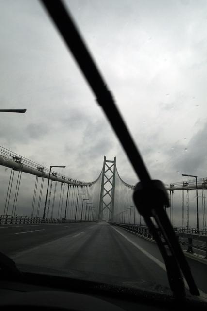 明石大橋爆走中。淡路島に渡ります。