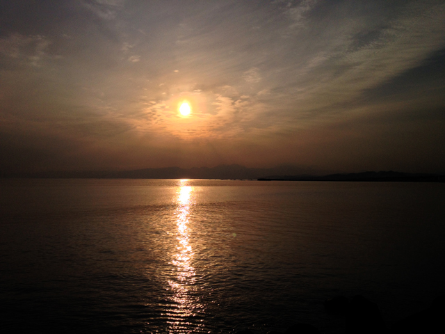 ひさしぶりに夕陽が出たよ。