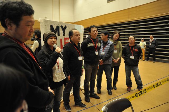 シャイなかえる新聞チームも、NTTの中継で感謝を全国に伝えました。